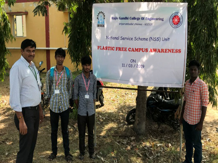 RGCE - NSS - Plastic Free Campus Awareness Program, on 11 Mar 2019